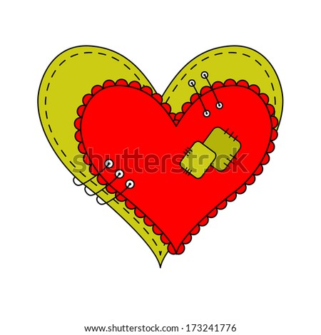 Two Colored Hearts Sewn with Thread to Each Other on a White Background. Raster version  - stock photo