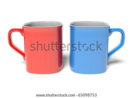 Two colored mug - stock photo