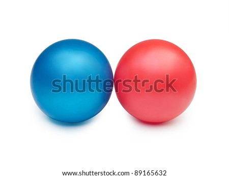 two colorful balls on a white background - stock photo