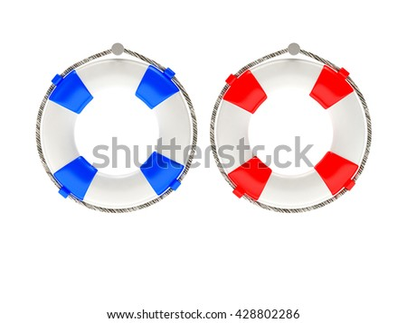 Two colorful lifebuoys hanging on white background. 3d illustration