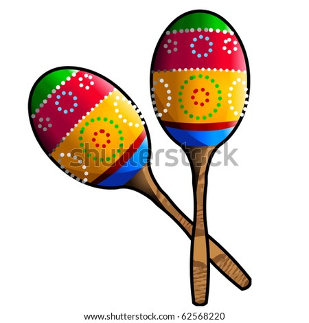 Two Colorful Maracas Isolated on white Background - stock photo