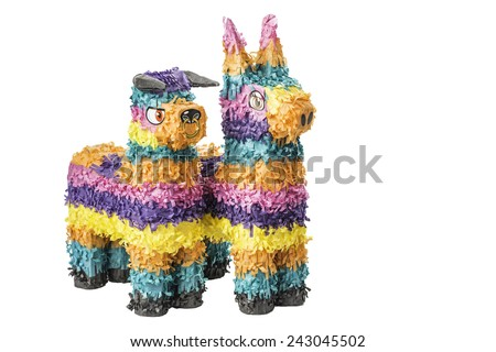 Two colorful Mexican pinatas isolated on a white background. - stock photo