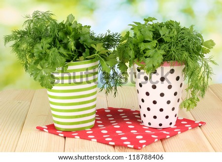 Two colorful pots with parsley and dill on wooden table on natural background - stock photo