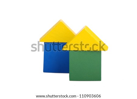 two colorful toy wooden blocks