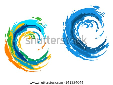 Two colorful waves for sports or another design. Vector version also available in gallery - stock photo
