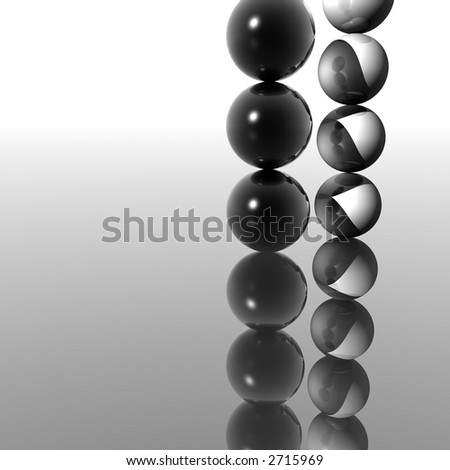 Two columns of a black and white balls - 3d scene.