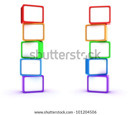 Two columns of multicolored cubes - stock photo