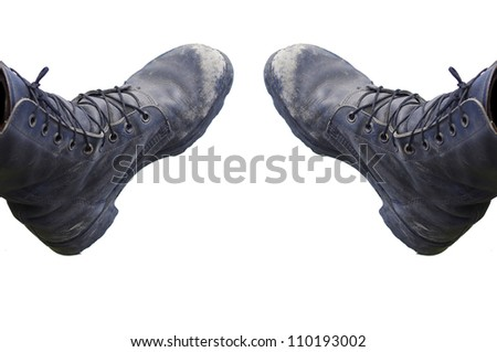Two combat boots isolated on white background - stock photo