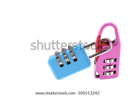 Two Combination padlock  on white.for design. - stock photo
