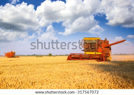 Two combined harvesters harvesting - stock photo