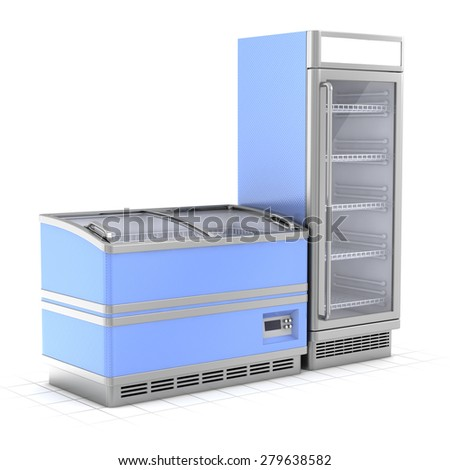 Two commercial refrigerators isolated on white - stock photo