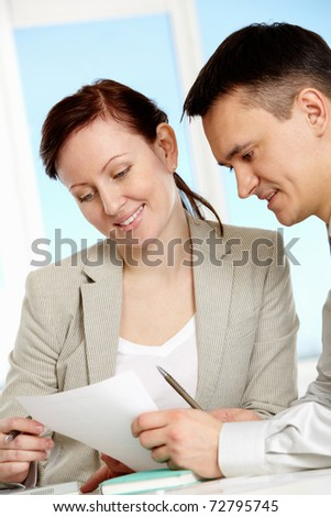 Two companions discussing new business strategy at meeting - stock photo
