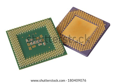 Two computer processors cut out on white background - stock photo