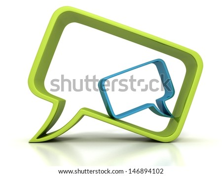two concept speech bubbles green and blue dialogue icon - stock photo