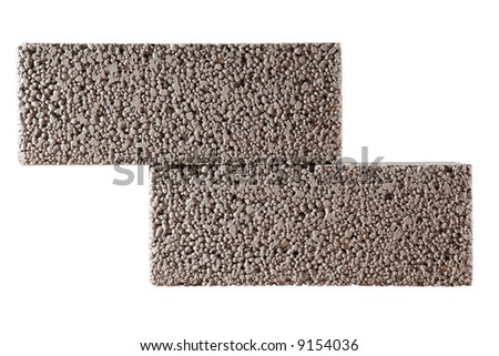 two concrete blocks isolated on white - stock photo