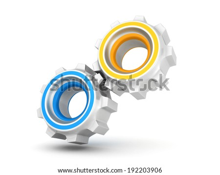 two connected work cogwheel gears on white. 3d render illustration - stock photo