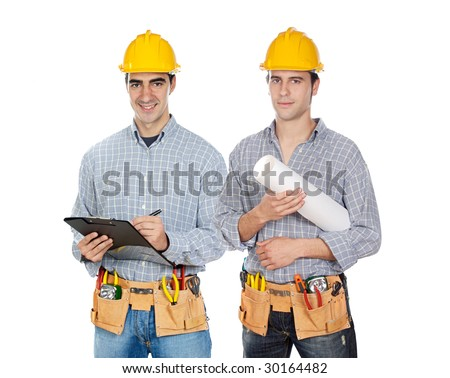 Two construction workers on a over white background