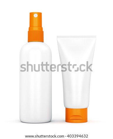 Two containers of sun protection cream and lotion: bottle with spray pump and tube isolated on white background. Summer sun tanning and sunscreen concept. 3D illustration - stock photo