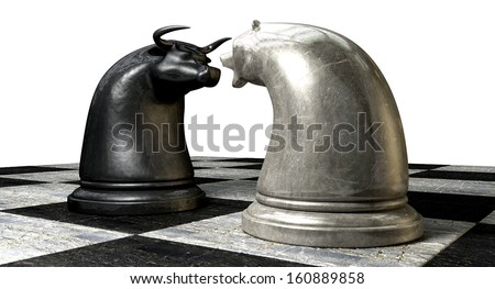 Two contrasting metal chess pieces depicting a stylized bull and a bear opposing each other representing financial market trends on stone chess board background
