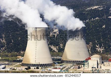 two cooling towers of nuclear industry in France - stock photo