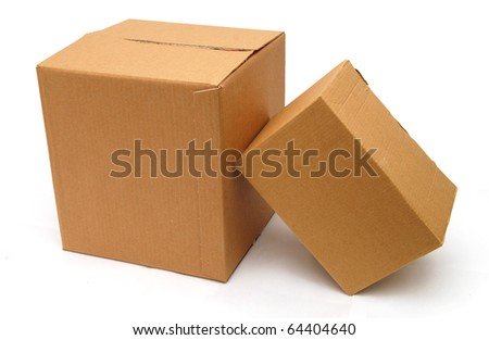 two corrugated boxes isolated white