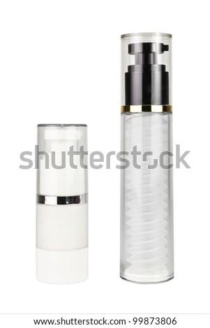 two cosmetics bottle on white background - stock photo