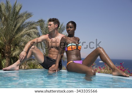 Two couple of tourists enjoying the sun of Egypt in middle east  Africa  - stock photo