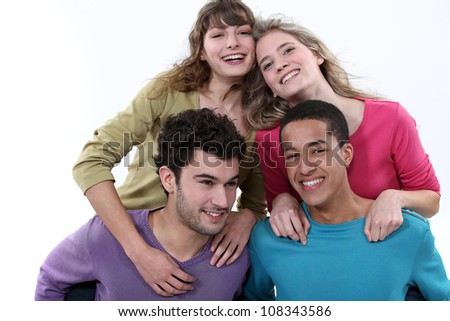 Two couple stood together - stock photo
