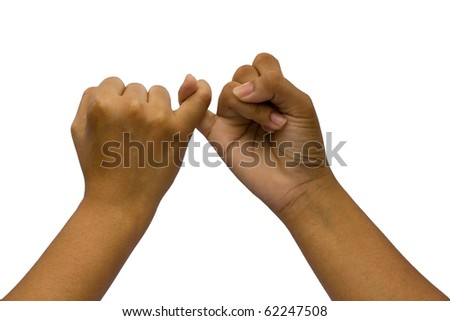 Two coupled hands, isolated on white background