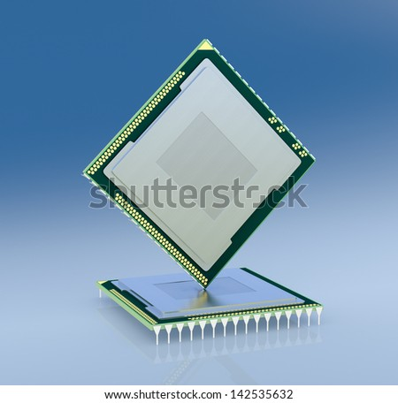 two cpu or gpu for computers and other electronics devices (3d render) - stock photo