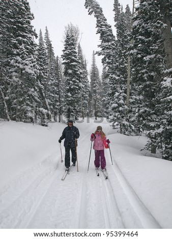 Two cross country skiers in a dark forest. - stock photo