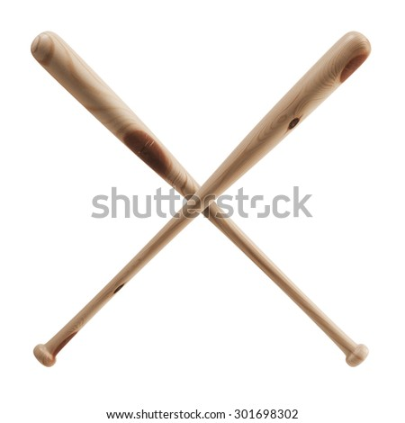 Two crossed baseball bats made of wood with twigs. Isolated on white background