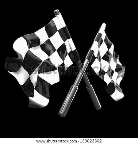 Two crossed checkered flags isolated on black background. high resolution 3d illustration - stock photo