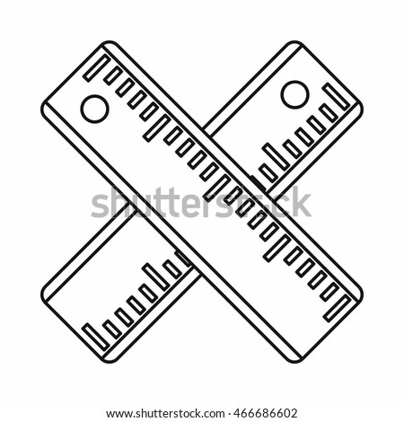 Two crossed rulers icon in outline style isolated  illustration