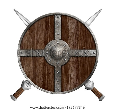 Two crossed swords and wooden viking shield isolated - stock photo
