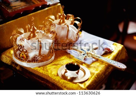 Two crowns the weddings intended for ceremony in orthodox church - stock photo