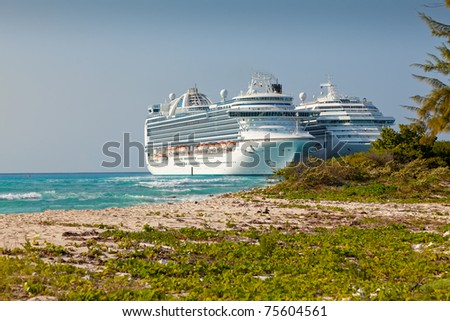 Two Cruise Ships Anchored in Grand Turk, Caicos Islands - stock photo