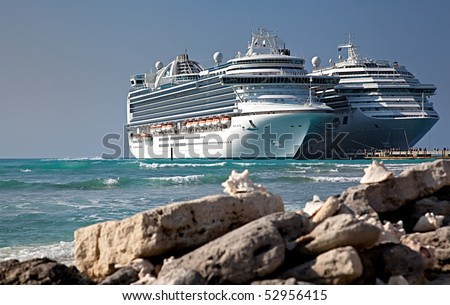 Two Cruise Ships Docked in Grand Turk Islands, Caribbean - stock photo