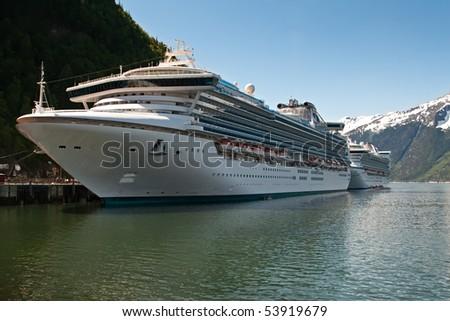 Two Cruise Ships Docked in Skagway, Alaska - stock photo