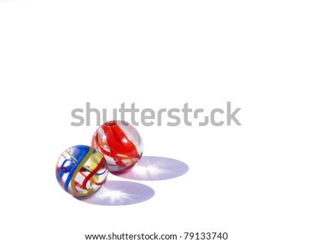 Two crystal balls with lots of colors - stock photo