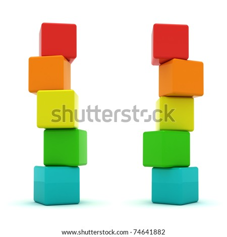 Two cube towers isolated - stock photo