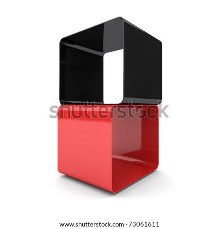 Two cubes on a white background - stock photo