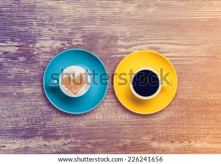 two cup of coffee on a table. - stock photo
