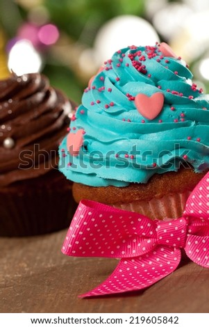 Two cupcakes - shallow DOF. - stock photo