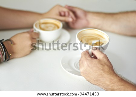 Two cups of coffee - stock photo