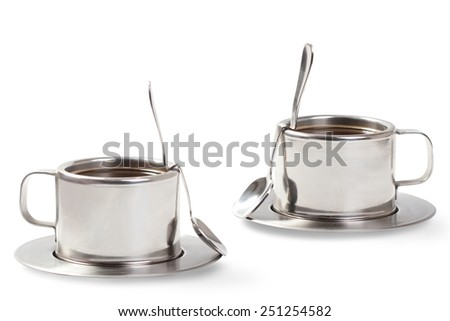 two cups of coffee communicate - stock photo