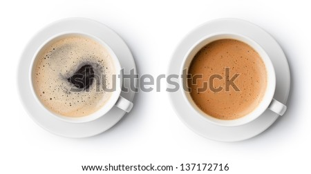 two cups of coffee isolated on white, top view - stock photo