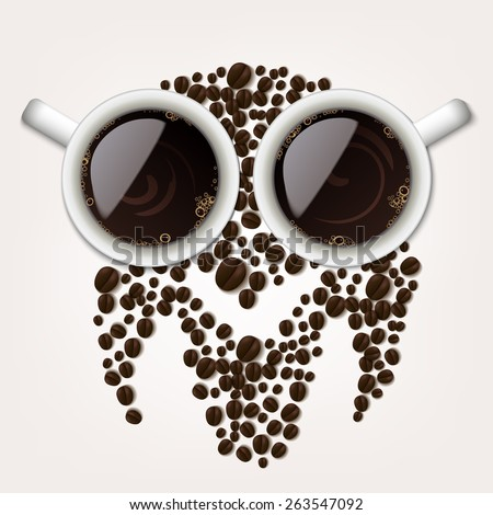 Two cups of coffee with coffee beans forming an owl symbol - stock photo