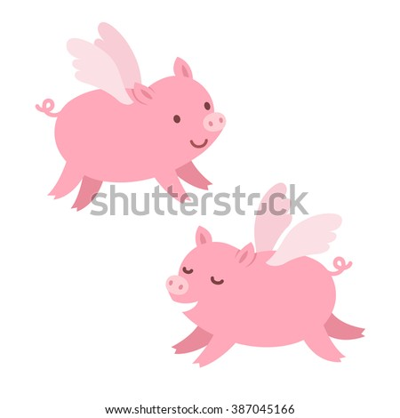 Two cute cartoon flying pigs. Isolated illustration. - stock photo