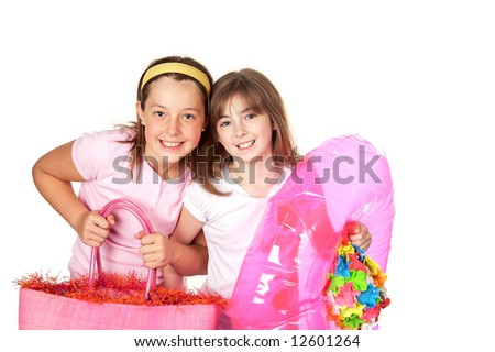 Two cute girls ready to go swimming - stock photo